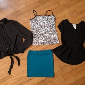 Bundle of black tops and body con mini skirt